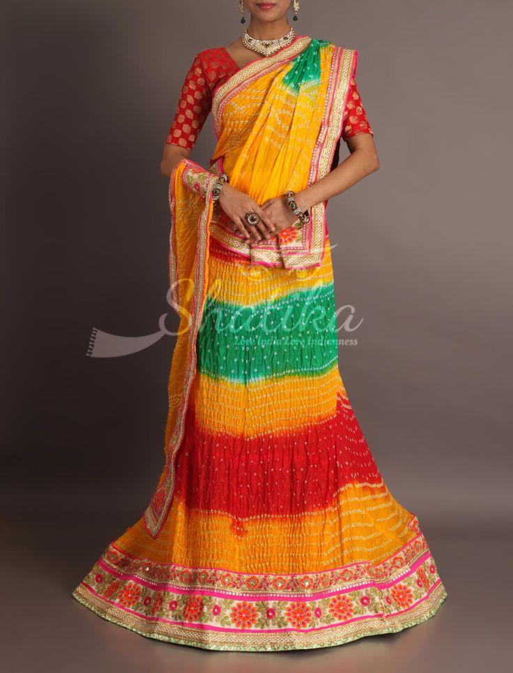 Mehandi Devi bandhani splash of colors with gota patti border royal rajasthani lehenga