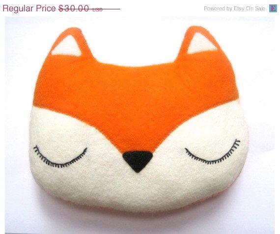 ON SALE Fox Pillow - Woodland Plush Felt Stuffed Christmas Orange Toy - Childs Nursery Decor - Valentines Day Gift