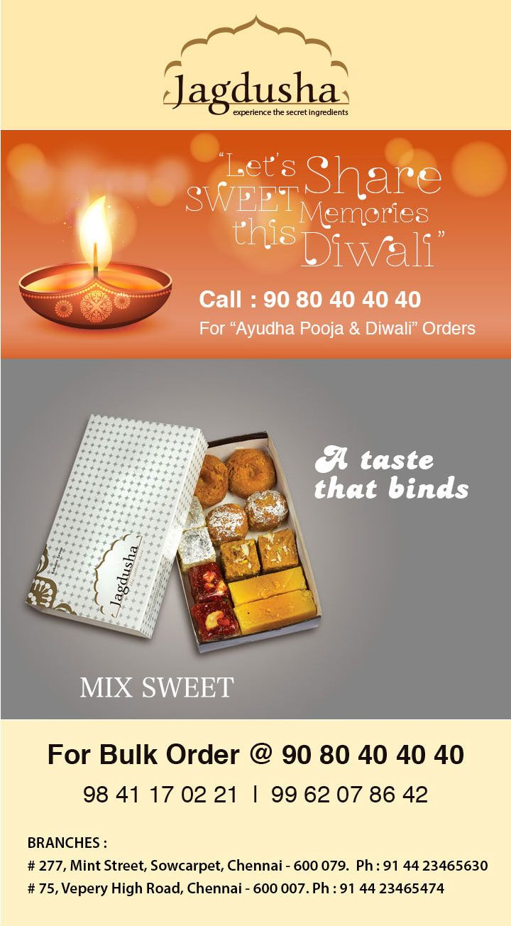 Enjoy the True taste of mixed sweets with Jagdusha Sweets & Savories. . .It's time to taste. . .