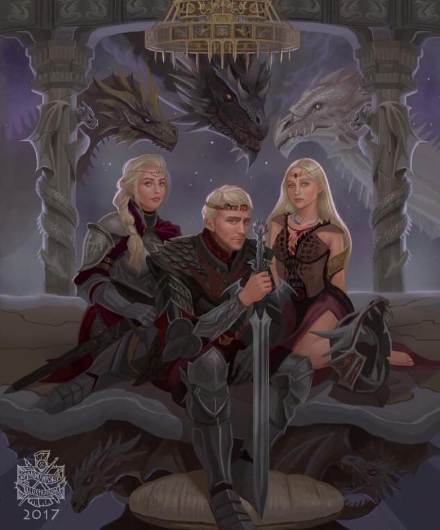 Aegon I Targaryen and his sisters Visenya and Rhaenys Targaryen