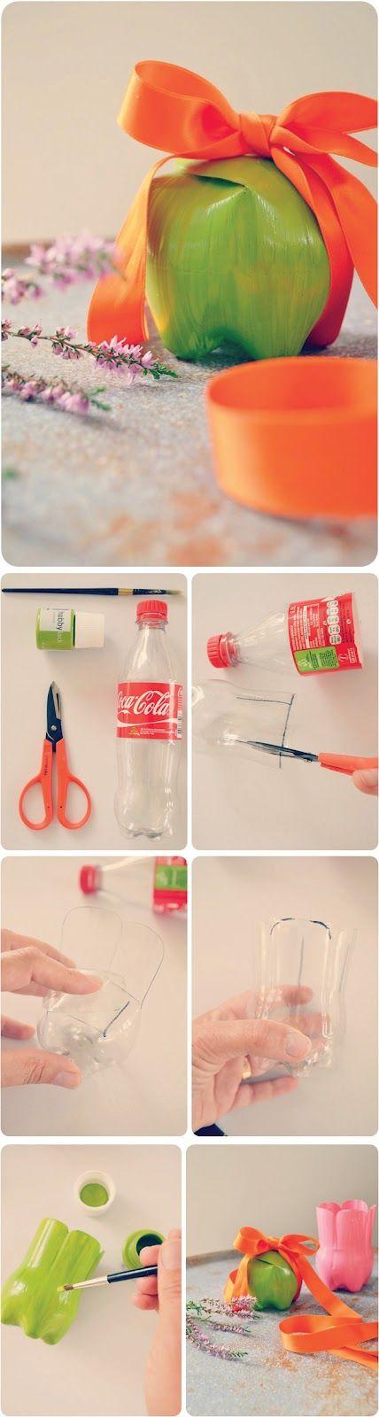 Reciclar é tudo de bom! Garrafa pet = bela caixa de presente =)