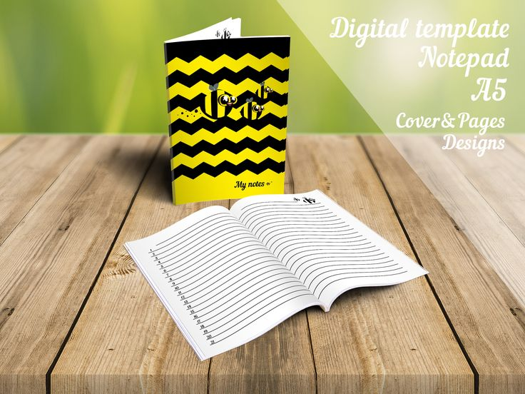 A5 Notepad design - Digital template - Cute bee - Instant download - Printable - Notes - Cover - Pages - Cartoon style - Decoration - Lines by DigitalCuteDesign on Etsy