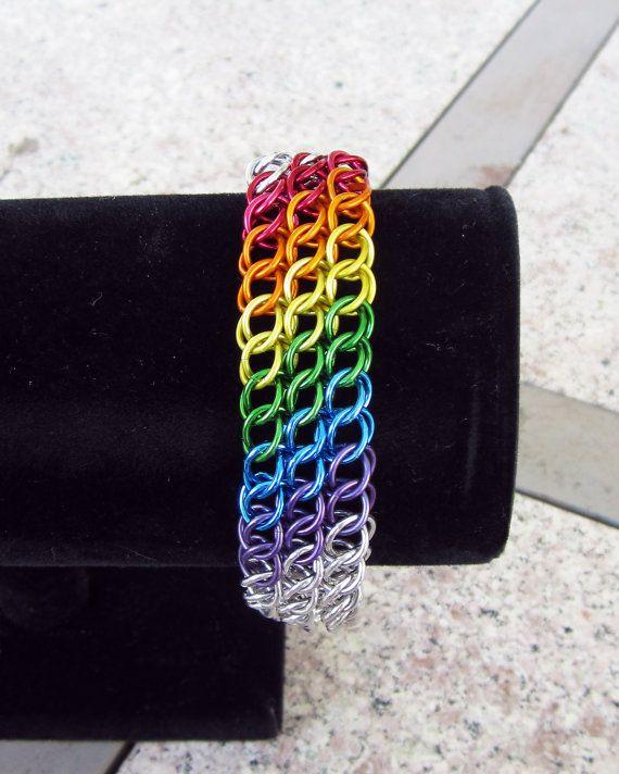 RAINBOW Half Persian Sheet Bracelet by PridemailleDesigns on Etsy