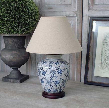 Ceramic Blue Flower Lamp - £82.00 - Hicks and Hicks