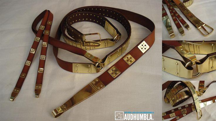Viking lamellar belt.  Lamellar belt based on original from Barshalder and Kopparsvik on Gotland. 108 hand made bronze fittings, strap dividers and strap ends.