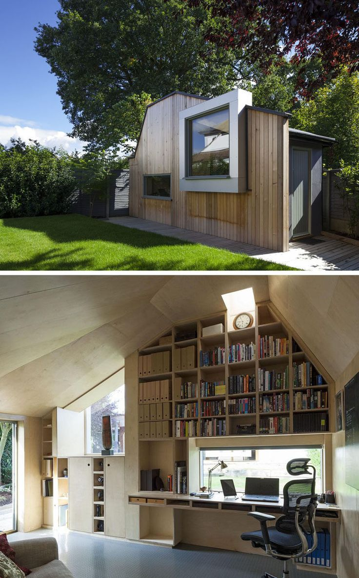 This modern backyard home office for a writer was built to replace an old garden shed.