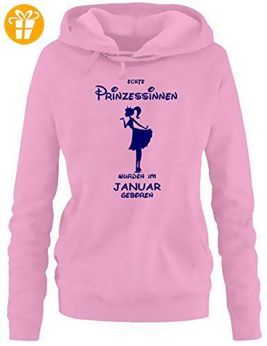 Echte Prinzessinnen wurden im Januar geboren ! Damen - Mädchen Geburtstag HOODIE Sweatshirt mit Kapuze PINK, Gr.S - T-Shirts mit Spruch   Lustige und coole T-Shirts   Funny T-Shirts (*Partner-Link)