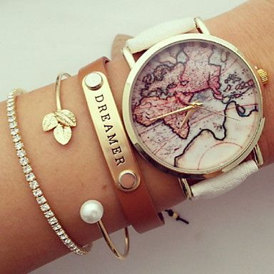 Unisex World Map Style Watch / Vintage World Map / Antique World Map / Ladies Watch / Women Premium Faux Leather Wristwatch