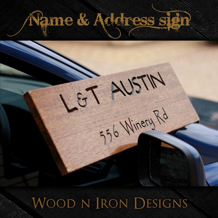 Tasmanian Oak personalised Name and Address sign.