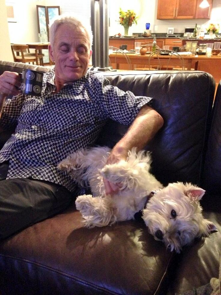 Well here is a picture of Jeremy Wade on my couch with my dog. Watch #RiverMonsters tomorrow at 10 on @AnimalPlanet!