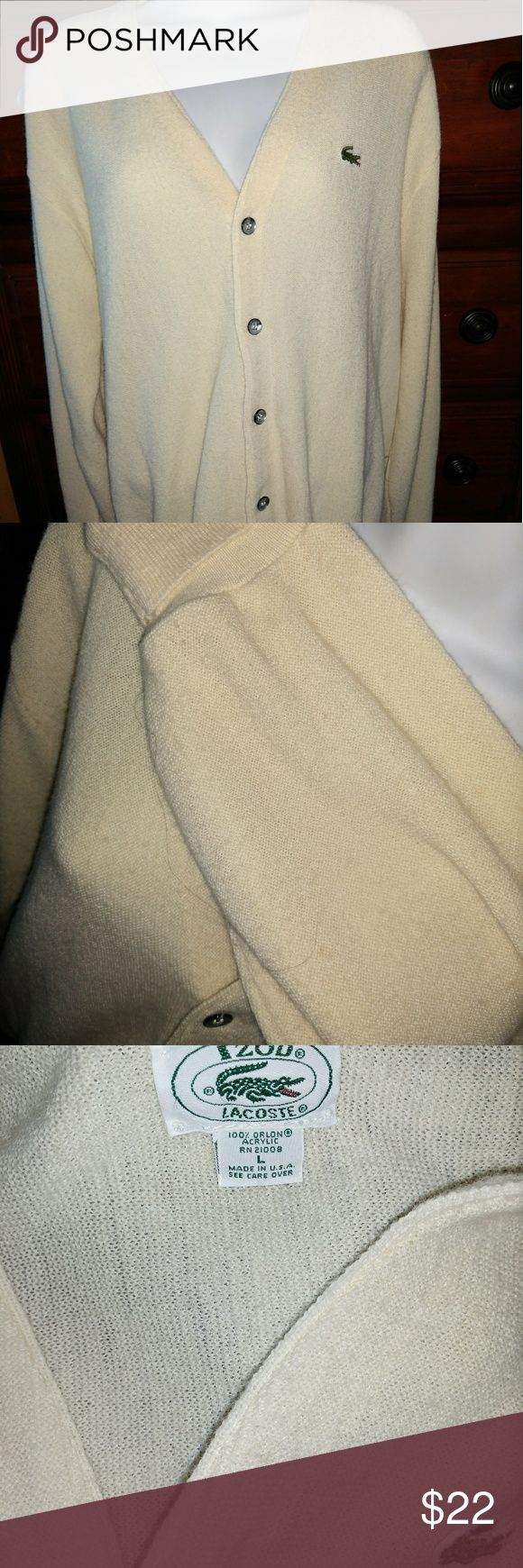 🍁🍂Vintage Izod Lacoste Size Large cardigan Cream Cream colored vintage Izod Lacoste Cardigan. Perfect for fall and winter. Has some wear due to age, but not holes, stains rips or tears.  Open to all offers! DISCOUNTS ON 2 OR MORE ITEMS! Izod Sweaters Cardigans
