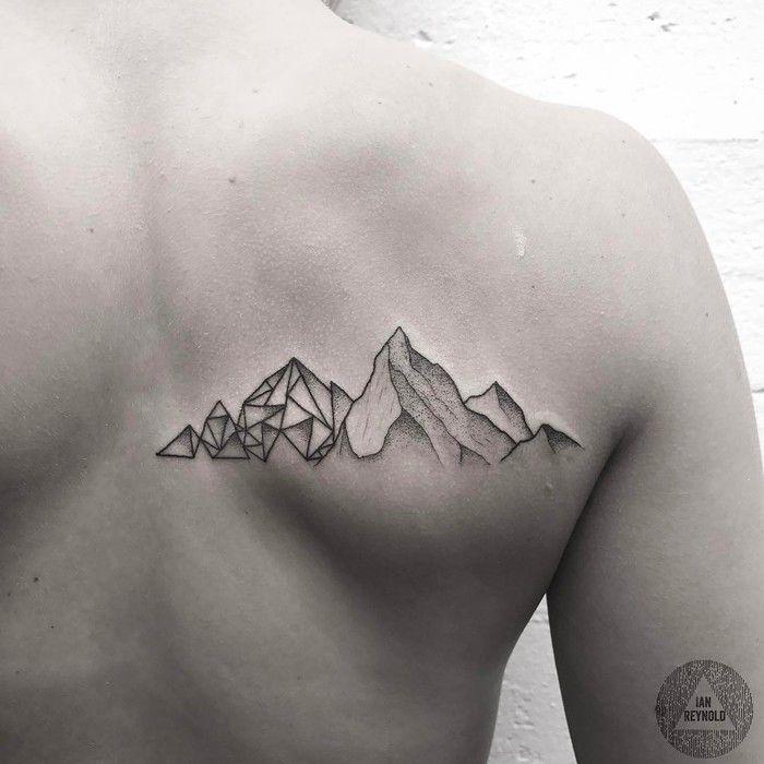 Dotwork and Geometric Mountain Tattoo by Ian Reynold