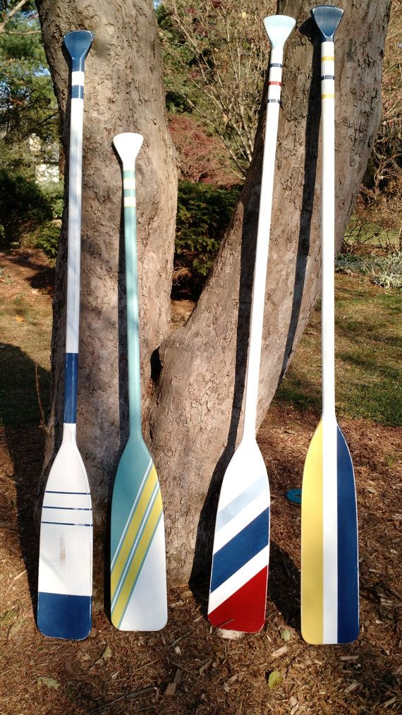 Oars Painted Wood - Nautical Decor - Custom Painted Choice of colors and Striping Patterns - Personalize or add Coat Hooks