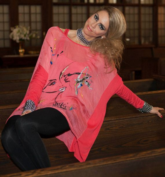 Hand painted silk tunic with long sleeves