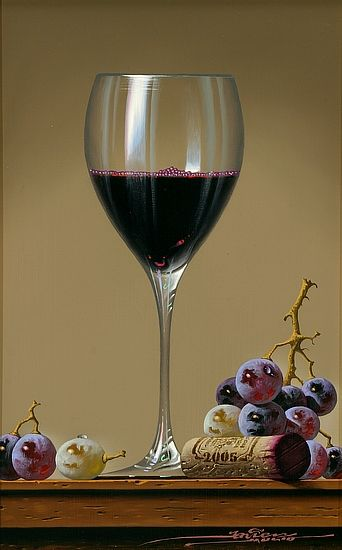 """Still Life - Wine Glass with Grapes"" by Javier Mulio, oil / Greenhouse Gallery of Fine Art"