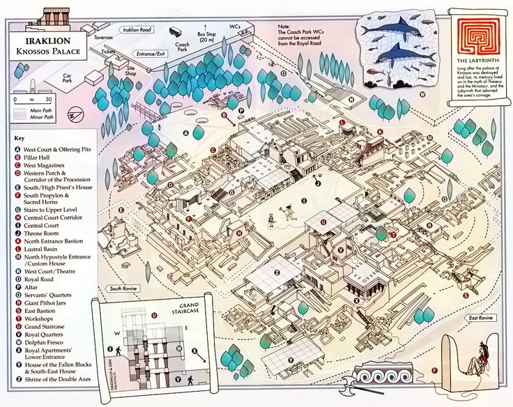 A 3D graphic of the layout of the Palace of Knossos, Crete.