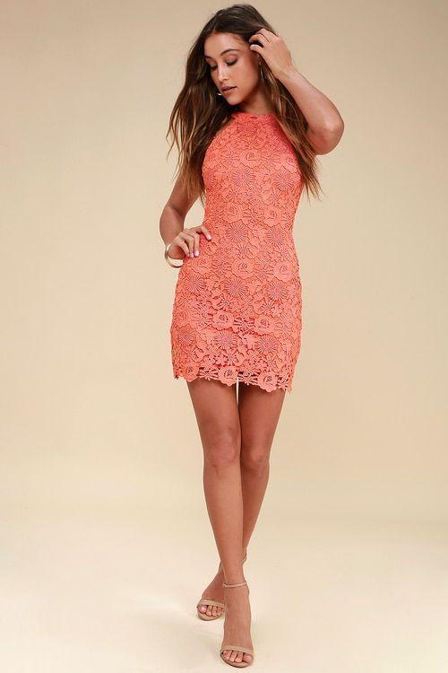 6f18090f671b Lulus | Love Poem Coral Orange Lace Dress | Size Large | 100 ...