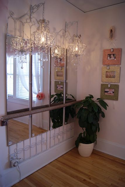 For the dancer: long mirrors hanging from garden trellises with a handrail converted to ballet bar. Check out the chandeliers above.