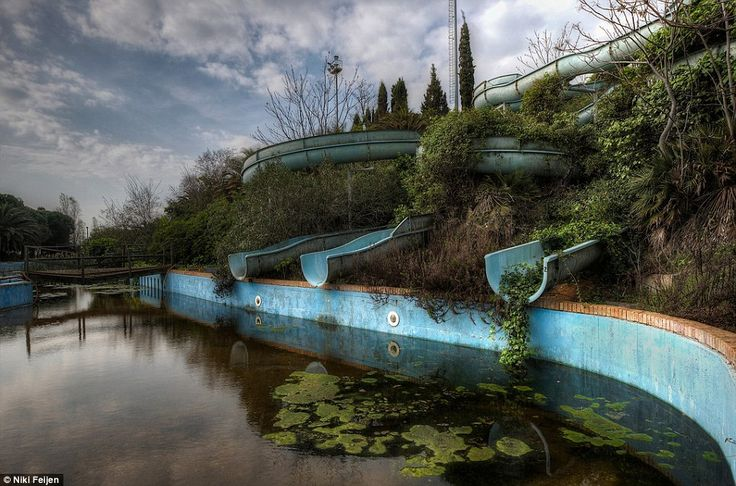 Ghosts of the past: A water park that was once crowded with happy children and parents has been reconquered by nature