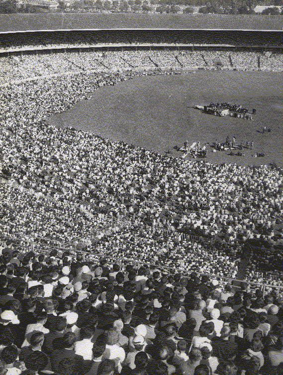 A photo of the Billy Graham Crusade at the Melbourne Cricket Ground in 1959. Billy Graham invited F W Boreham to join him on the platform during the meetings but Boreham was unwell and declined the invitation.