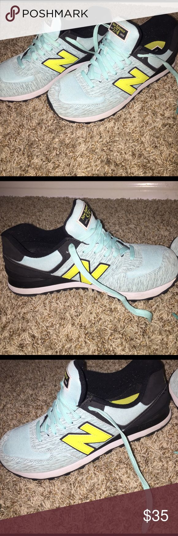 Women's 574 New Balances Light blue, neon, and black New Balance Shoes Sneakers