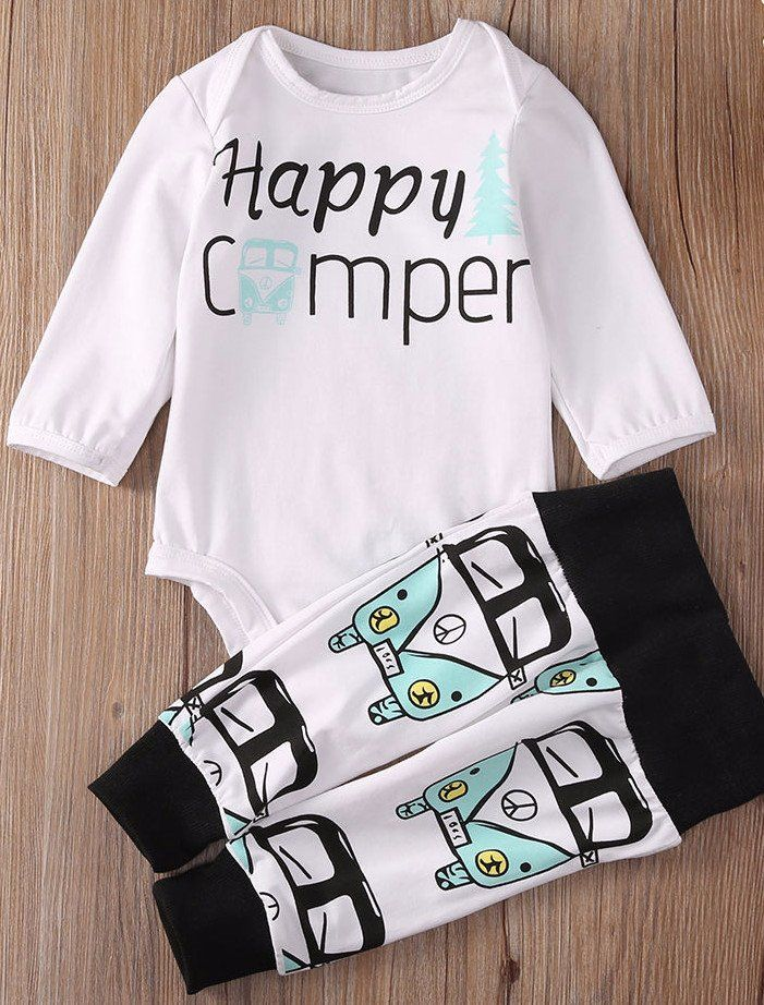 """ Happy Camper "" New Baby Boy Gift Set VW Retro Van Top Bottoms & Beanie Infant Baby Shower Gifts Boy's Clothing Apparel USA Shipping 0/6mo Retro Camping Van Bus #happingcamping #happycamper #familyfun #babyshowergifts #babylist #babyregistry"