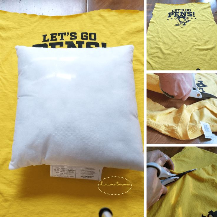 How To Craft A No Sew Pillow From A Favorite Sports Tee, college covered, powerd by discover student loans, parents, college, kids, teens, going to college, college bound, high school graduations, money, studen loans, craft, diy project, pillow, tee shirt, scissors, step by step tuturial, dana diy blog, dana diy craft, crafting with dana, sports shirts, tee shirts, favorite shorts, worn out shirts, shirts we love, recycle, upcycle, reuse, pillow tee shirts, college craft, college dorm room…