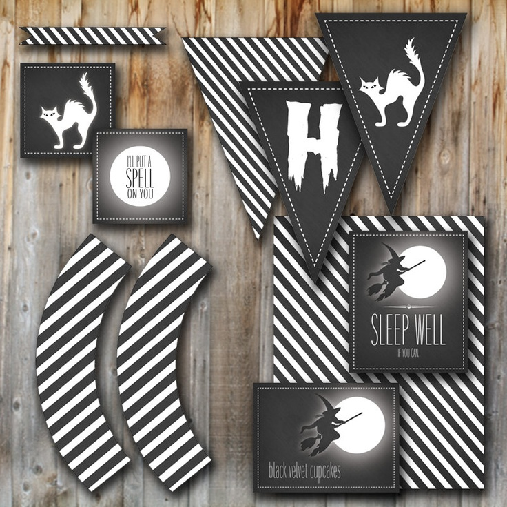 halloween party decorations black cat printable collection digital files chalkboard tags - Halloween Cat Decorations