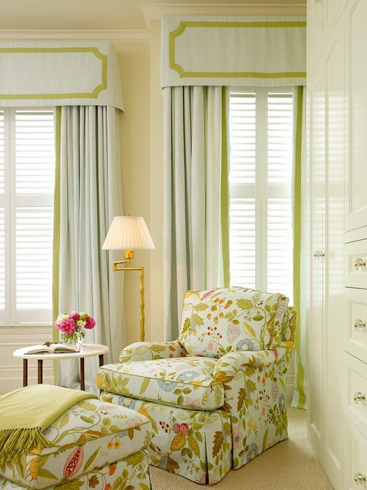 .: Chairs Fabrics, Soft Colors, Cornices Boards, Window Shades, Interiors Design, Master Bedrooms, Colors Schemes, Reading Chairs, Window Treatments