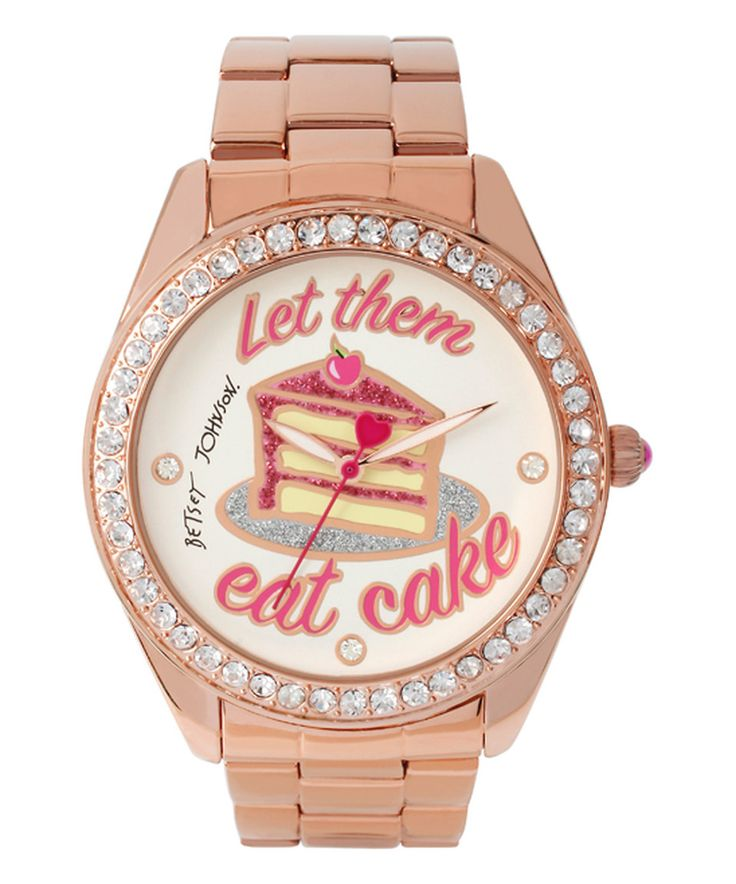 Look what I found on #zulily! Crystal & Rose Goldtone 'Let Them Eat Cake' Watch by Betsey Johnson #zulilyfinds
