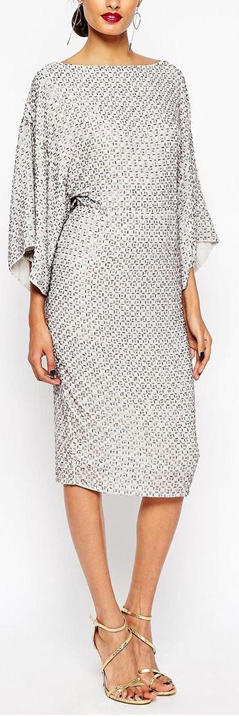 sequined kimono sleeve dress