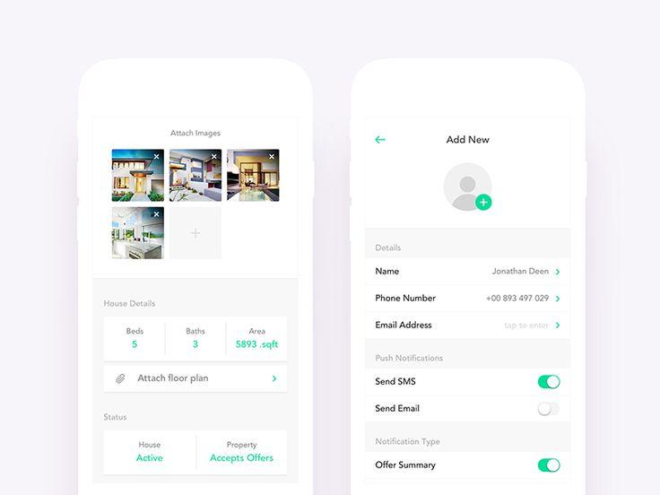 Real Estate App UI Design - Add Listing & New Person by Nimasha Perera #Design Popular #Dribbble #shots