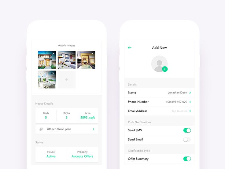 Real Estate App UI Design - Add Listing & New Person by Nimasha Perera #Design Popular #Dribbble #shots