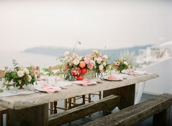 Romantic table setting with bright and pastel colours