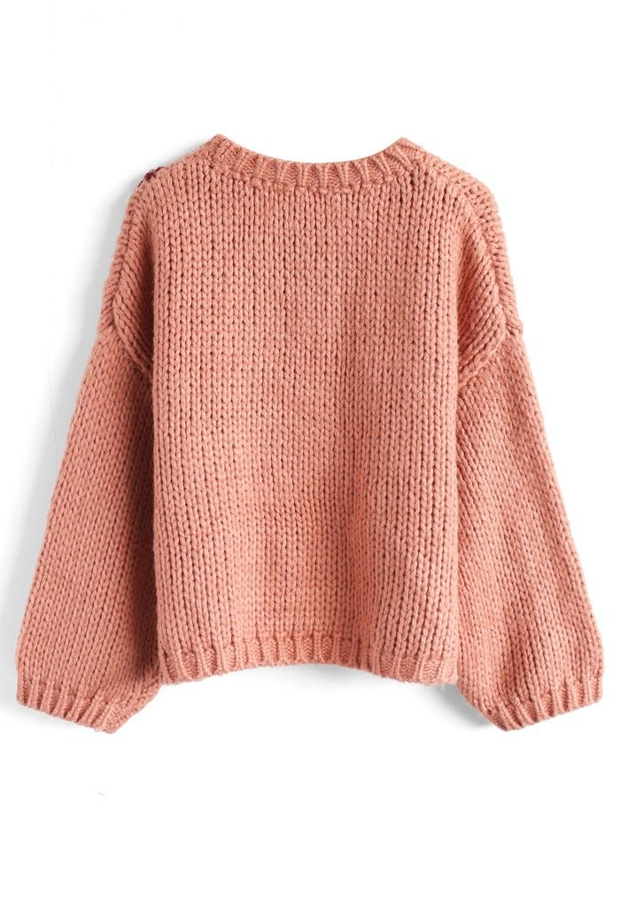Flowering Branch Chunky Knit Sweater in Coral - Sweaters - Tops - Retro, Indie and Unique Fashion