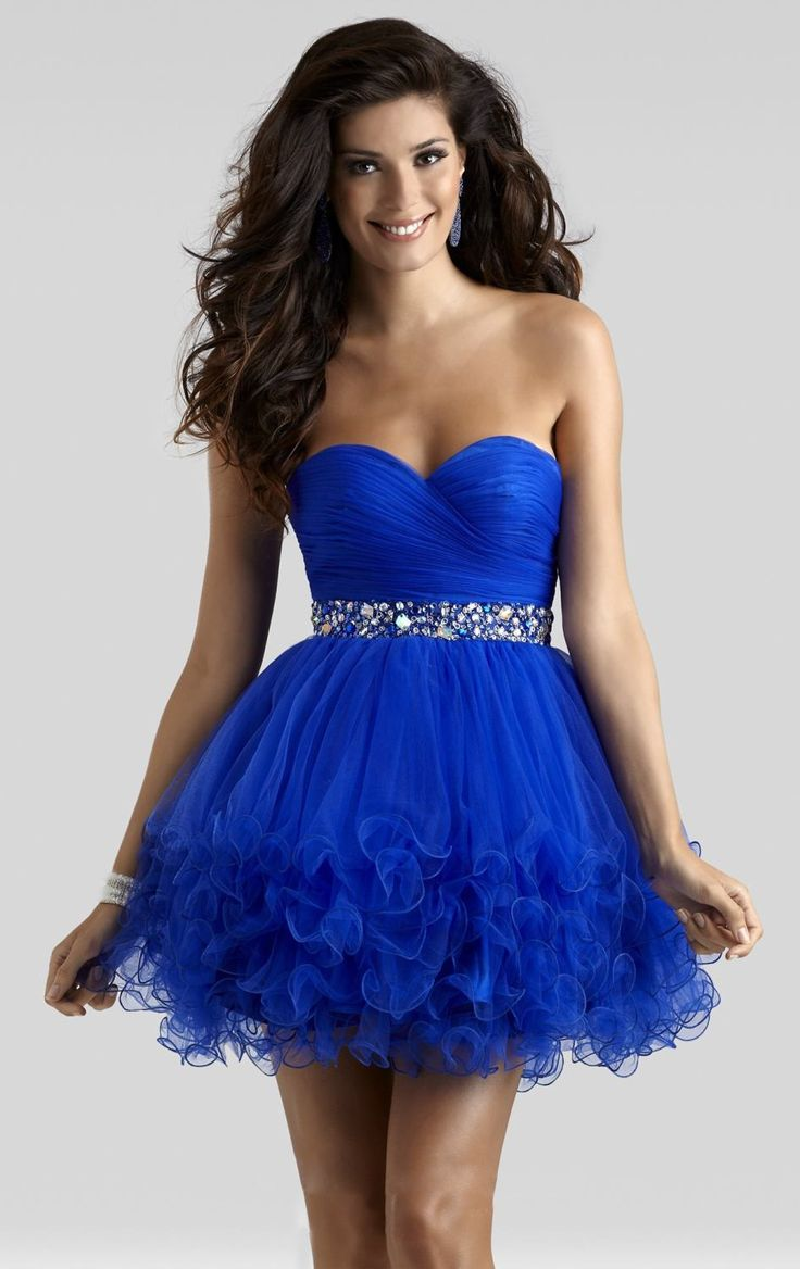 Fantastic A-Line Sweetheart Short-Mini Organza Royal Blue Zipper Cocktail  Dress with Draped