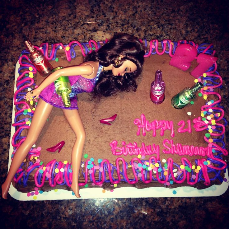 21st birthday drunk Barbie cake! This is so cute!! I want somebody to make this for me pleasssse! @Miranda Marrs Ozuna can u make this for me pleasssse?! Lol