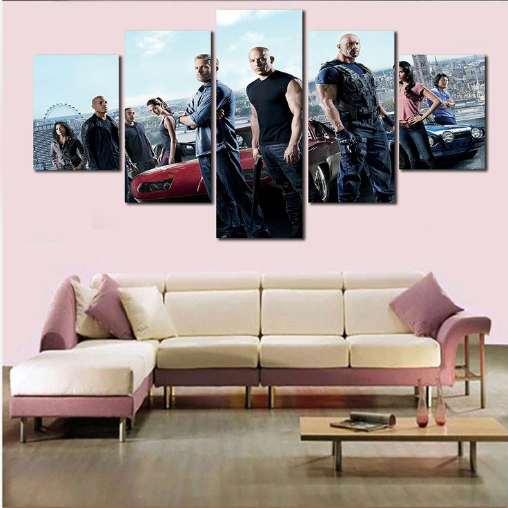 nice 5 Panels Canvas Art Fast and Furious