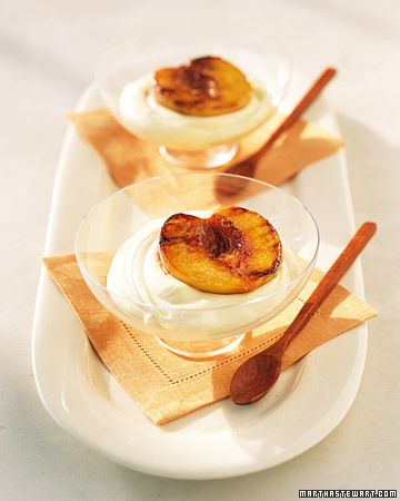 Grilled Peaches with Chilled Sabayon - Sabayon is a dessert made by whisking egg yolks with sugar and wine (in this case, Champagne) over a hot water bath until the mixture is glossy and fluffy. To make this elegant dessert, fold whipped cream into the chilled sabayon and top each serving with a grilled peach half.