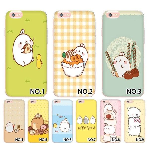 New Printed Cutest Kawaii Box Potatoes and rabbits Molang Cell Phone Bags For Apple se 6s 7 7plus 8 8x Phone Bag and Case for Samsung s7/s7 edge/s8/s