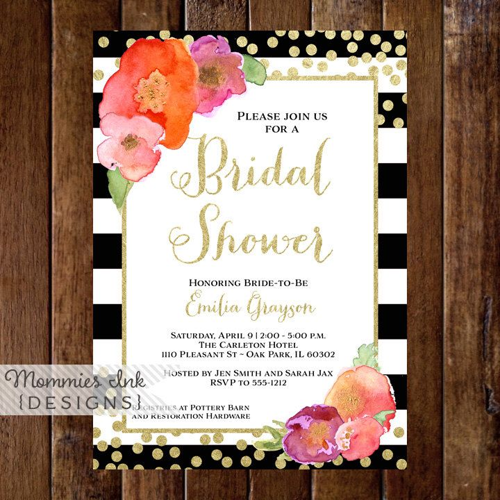 sample open house graduation party invitations%0A Graduation Party Invitation  Watercolor Floral Black  u     White Stripe Invite  Open  House Invite  Gold Confetti Invitation  Class of