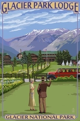 Glacier Park Lodge - Glacier National Park, Montana - Lantern Press Poster
