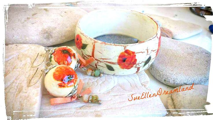 OOAK Lightweight floral decoupage set earrings bracelet,matching set, boho jewelry,bohemian jewelry,boho set,unique,gift for her, by SueEllenDreamland on Etsy