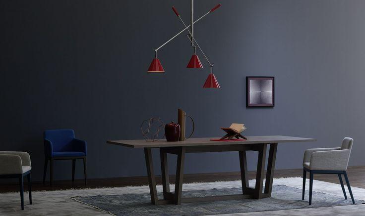 INK... Tavoli in finitura olmo ossido, importante per forma e dimensione, è un equilibrio perfetto tra modernità e tradizione. Abbinato alle sedie in tessuto con struttura in legno modello SILLA. Che ne pensi della sua geometria, ti piace?