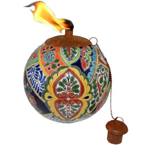 Mexican Clay Pottery Oil Lamp / Tiki Torch - Talavera Fiesta Design by Legends Tiki Lifestyle. $49.99. Removable fuel cell holds tiki torch oil, and burns for approximately five hours.  Handcrafted by artisans in Mexico.