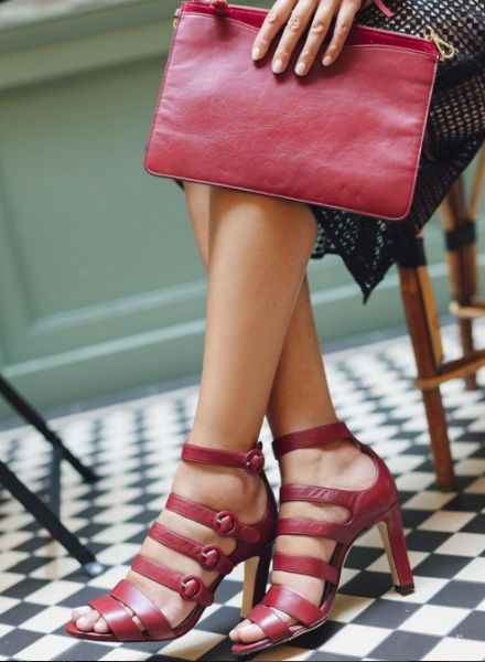 All burgundy everything - our Celeste sandals and Rachel chain link  crossbody make perfect additions to