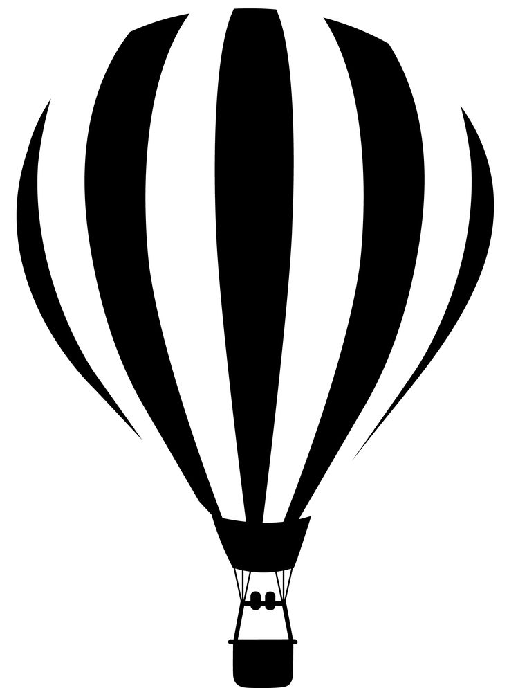 black and white silhouette images | Black and White Striped Hot Air Balloon
