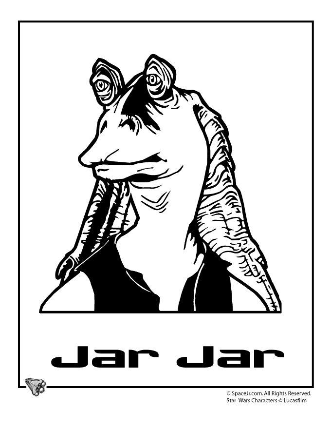 star wars coloring pages jarjar cartoon jr