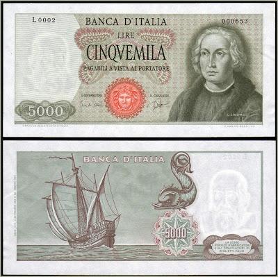 Collezione Personale di Banconote Italiane: 0.1.8. - 5000 LIRE COLOMBO I TIPO