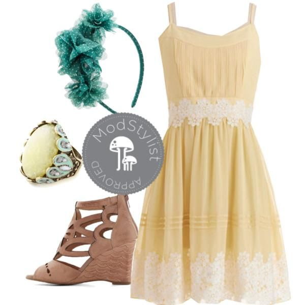 Pair this lemon-yellow dress with mint and turquoise accessories. Let your hair down and bring out the bright colors! #ootd